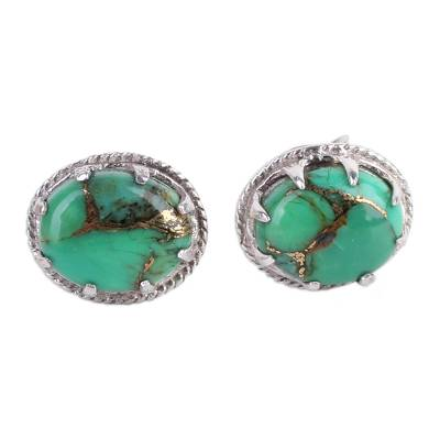 Green Composite Turquoise Stud Earrings in Sterling Silver
