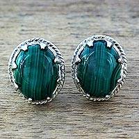 Malachite stud earrings, 'Morning Forest' - Sterling Silver and Deep Green Malachite Earrings