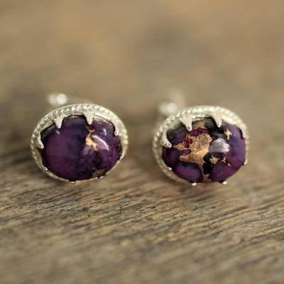 Sterling silver stud earrings, 'Morning in Purple' - Sterling Silver Purple Composite Turquoise Stud Earrings