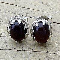 Garnet stud earrings, 'Deep Red' - Garnet and Sterling Silver Handcrafted Stud Earrings
