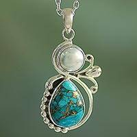 Cultured pearl pendant necklace, 'Joyous Blue Sky' - Cultured Pearl and Composite Turquoise Silver 925 Necklace