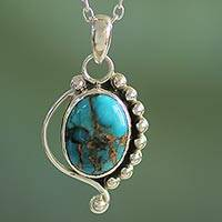 Sterling silver pendant necklace, 'Blue Indian Paisley' - Turquoise Jewelry Indian Sterling Silver Necklace
