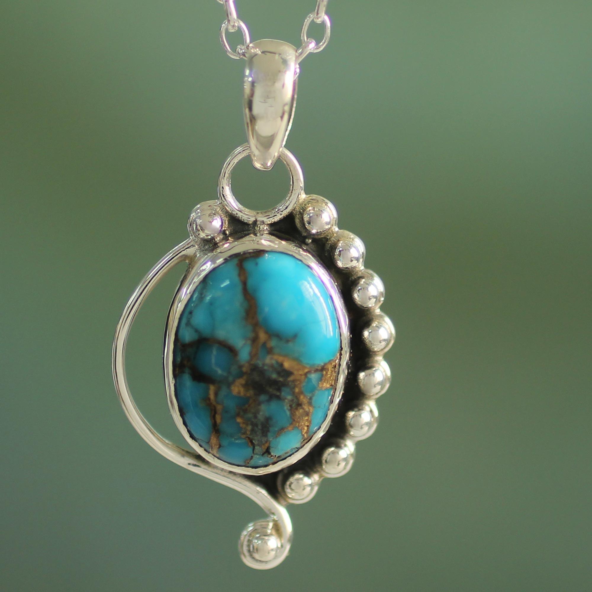 Blue Turquoise Pendant Necklace