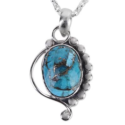 Turquoise Jewelry Indian Sterling Silver Necklace