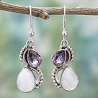 Amethyst and rainbow moonstone dangle earrings, 'Two Teardrops' - Silver and Rainbow Moonstone Earrings with Faceted Amethyst