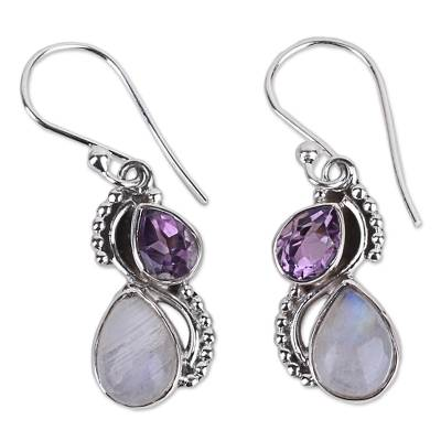 Silver and Rainbow Moonstone Earrings with Faceted Amethyst