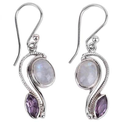 India Handcrafted Amethyst and Rainbow Moonstone Earrings