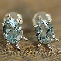 Blue topaz button earrings, 'Crystal Turtle' - Artisan Jewelry Earrings Sterling Silver and Blue Topaz