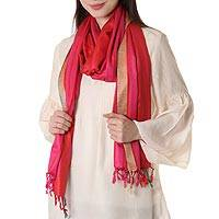 Silk shawl, 'Sweet Luxury' - Hand Woven Pink and Red  Striped 100% Silk Shawl from India