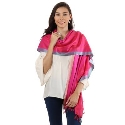Silk shawl, 'Radiant Luxury' - Hand Woven Red and Pink Striped 100% Silk Shawl from India