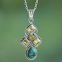 Citrine pendant necklace, 'Geometric Illusions in Yellow' - Citrine and Composite Turquoise Sterling Silver Necklace