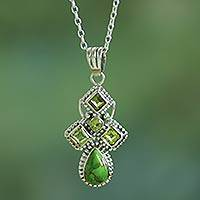 Peridot pendant necklace, 'Geometric Illusions in Green' - Green Peridot and Composite Turquoise India Silver Necklace