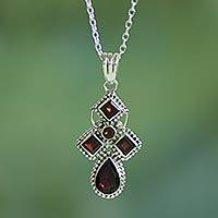 Garnet pendant necklace, 'Geometric Illusions in Crimson' - Hand Crafted Garnet and Sterling Silver Pendant Necklace