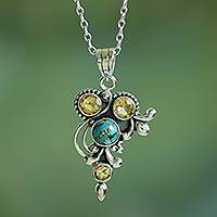 Citrine pendant necklace, 'Mystic Golden Jaipur' - Handmade Citrine and Composite Turquoise Necklace