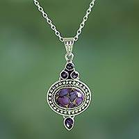 Amethyst pendant necklace, 'Luminous Lilac Sky' - Handmade  Amethyst and Composite Turquoise Necklace