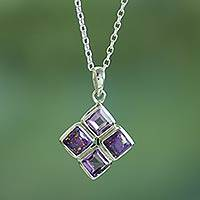 Amethyst pendant necklace, 'Quartered Harmony in Lilac' - Handmade Amethyst and Composite Turquoise Necklace
