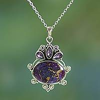 Amethyst pendant necklace, 'Regal Coronation' - Composite Turquoise and Amethyst Pendant Necklace