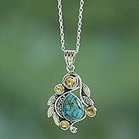 Citrine pendant necklace, 'Golden Forest Mist' - Handmade Composite Turquoise and Citrine Necklace