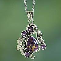 Amethyst pendant necklace, 'Purple Forest Mist' - India Handcrafted Composite Turquoise and Amethyst Necklace