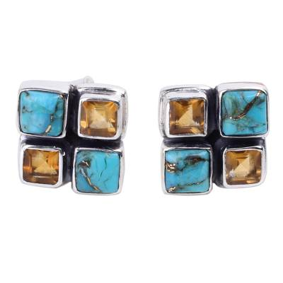 Citrine and Blue Composite Turquoise Button Earrings