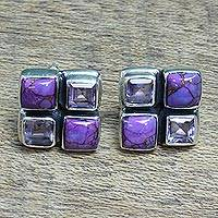 Featured review for Amethyst button earrings, Lilac Bliss