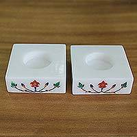 Marble tealight holders, 'Blooming Buds in Red' (pair) - Square Marble Tealight Holders with Red Blooming Bud (Pair)