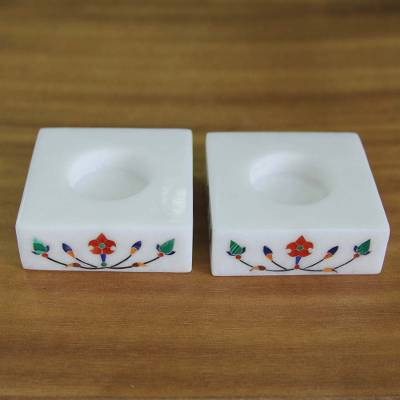 Marble tealight holders, Blooming Buds in Red (pair)
