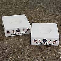 Marble tealight holders, 'Blooming Buds in Blue' (pair)