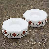 Marble tealight holders, 'Floral Alliance in Red' (pair)