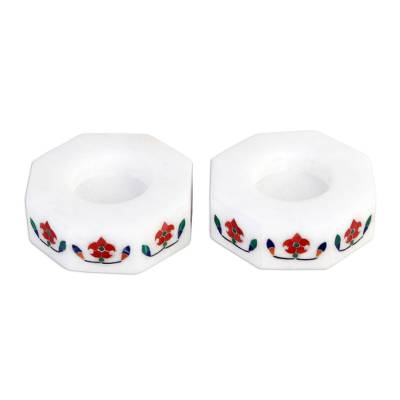 Marble tealight holders, 'Floral Alliance in Red' (pair) - Octagon Marble Tealight Holder with Red Blooming Buds (Pair)