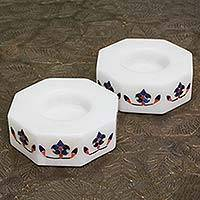 Marble tealight holders, 'Floral Alliance in Blue' (pair) - Octagon Marble Tealight Holders with Blue Buds (Pair)