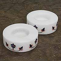 Marble tealight holders, 'Floral Symmetry in Blue' (pair) - Round Marble Tealight Holder with Blue Blooming Buds (Pair)
