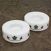 Marble tealight holders, 'Floral Symmetry in Green' (pair) - Round Marble Tealight Holder with Green Blooming Buds (Pair)