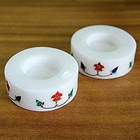 Marble tealight holders, 'Floral Disc' (pair) - Pair of Marble Tealight Holders Handcrafted in India