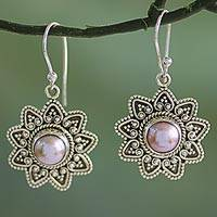 Cultured pearl dangle earrings, 'Passionate Flower' - Cultured Pearl Sterling Silver Dangle Earrings from India