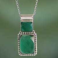 Onyx pendant necklace, 'Watery Depths' - Onyx Pendant Necklace with Sterling Silver from India
