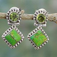 Peridot drop earrings, 'Green Enigma' - Peridot and Composite Turquoise Sterling Silver Earrings