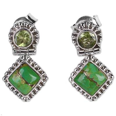 Peridot and Composite Turquoise Sterling Silver Earrings