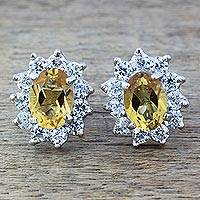 Citrine stud earrings, 'Sunny Sophistication'