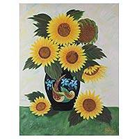 'Sunflower Splendor' - Sunflower Bouquet Oil on Canvas Painting from India