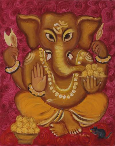 'Peaceful Ganesha' - Original Oil Painting of Hindu Deity Ganesha from India