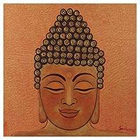 'Golden Buddha I' - Original Lord Buddha Oil on Canvas Painting from India