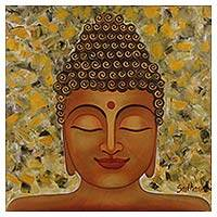 'Golden Buddha II' - Original Lord Buddha Oil on Canvas Painting from India