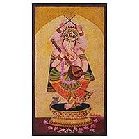 'Dancing Ganesha II' - Indian Oil on Canvas Painting of Lord Ganesha Dancing
