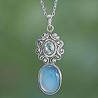 Chalcedony and blue topaz pendant necklace, 'Harmonious Blue' - Handcrafted Blue Chalcedony and Topaz Pendant Necklace