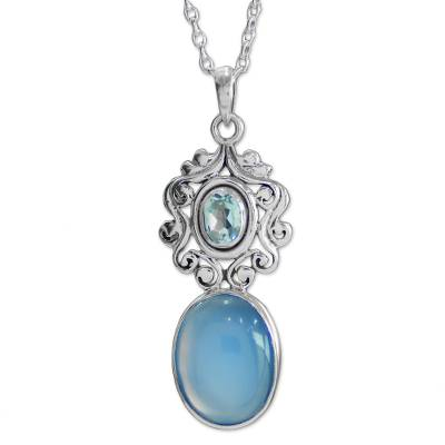 Handcrafted Blue Chalcedony and Topaz Pendant Necklace