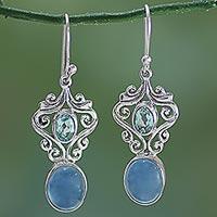 Chalcedony and blue topaz dangle earrings, 'Harmonious Blue' - Handcrafted Blue Chalcedony and Topaz Dangle Earrings