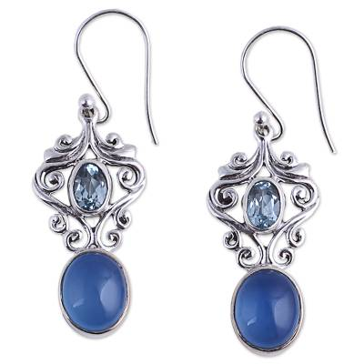 Handcrafted Blue Chalcedony and Topaz Dangle Earrings