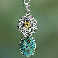 Citrine pendant necklace, 'Whimsical Tendrils' - Handcrafted Citrine and Composite Turquoise Necklace