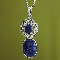 Lapis lazuli pendant necklace, 'Whimsical Tendrils' - Handcrafted Deep Blue Lapis Lazuli Pendant Necklace